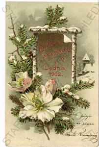 Šťastný nový rok 1902 koláž plastická karta DA