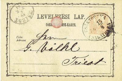 MAĎARSKO - r.1874, oblíbené razítko CSAKATHURN