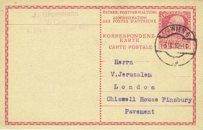 RAKOUSKO - r.1910, Vídeň - Londýn, karta pro zahraničí, dobrá kvalita