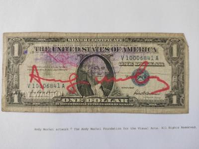 Andy Warhol - Originální podepsaný DOLAR - sběratelský unikát
