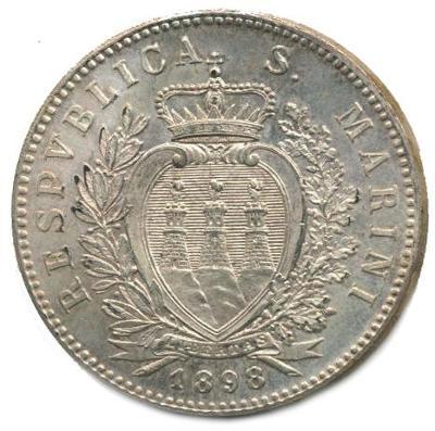 Republika San Marino, 5 lira 1898 (FERT) ražená kopie