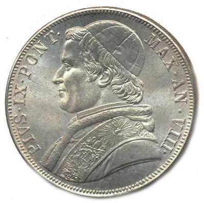 Papežský stát, Pius IX. 5 lira 1870 ražená kopie, vroubkovaná hrana