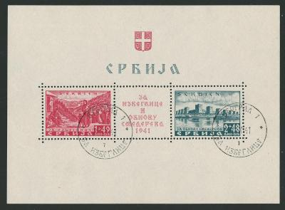 Deutsches Reich - WWII OKUPACE SERBIEN / SRBSKO - Mi. BLOCK 1 ražený