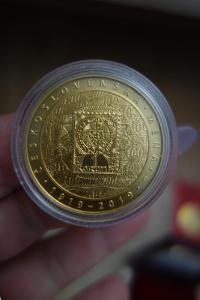 Zlatá mince 10000 Kč Zavedení československé měny 1oz 2019 ČNB BK