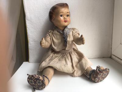 Stará panenka z půdy polovina minul. stol. DUBENA - fajne cukle - 42cm