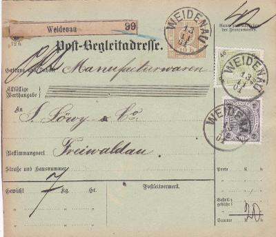 Rakousko, průvodka, Vidnava 1901 - Jeseník.