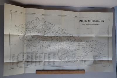 Republika československá - mapa územní organizace vnitřní správy 1949