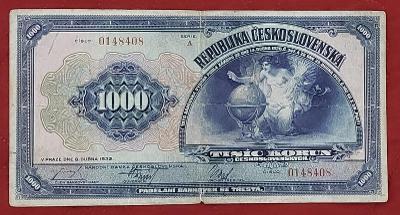 1000Kčs rok 1932 séria A neperforovaná- vzácna