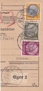 Sudety, průvodka-ústřižek, Kraslice, firma (Sokolov)-Cheb-Praha 1938