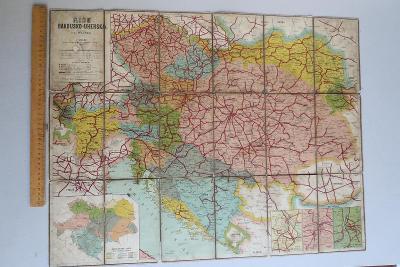 Mapa - Říše Rakousko-Uherská - Wagner 1893 - železnice