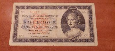 Bankovka 100 koruna    1945