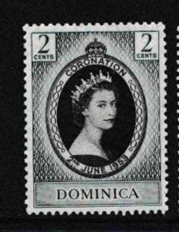 britská Dominika 1953 ** Alžbeta II korunovácia komplet
