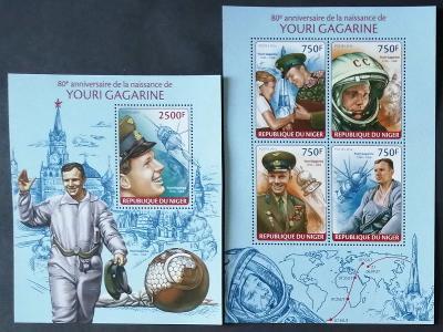 Niger 2014 Mi.2697-0+Bl.281 22€ 80 let Jurije Gagarina, kosmonaut