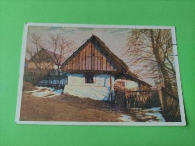 Pohlednice umělecká - Adolf Körbra - na sklonku zimy - dopisnice