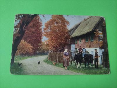 Pohlednice umělecká - dům, lidé, děti, vesnice, povoz - dopisnice