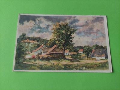 Pohlednice umělecká - J. Hrubeš - krajina , ves, vesnice, domy