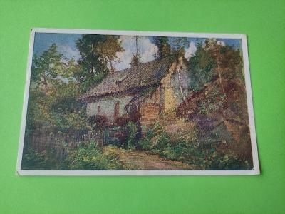 Pohlednice umělecká - F. Hladík - krajina, dům, les