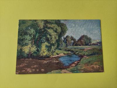 Pohlednice umělecká - A. Kalvoda - krajina, řeka, potok, stromy
