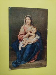 Pohlednice - náboženství - náboženská - Murillo - Marie s dítětem
