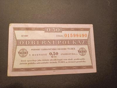 Tuzex 0.50 Kčs II/1989