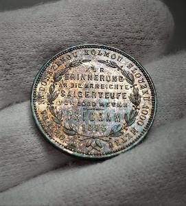 Stříbrný Příbramský Zlatník 1875, aUNC, vzácný a s nádhernou patinou!