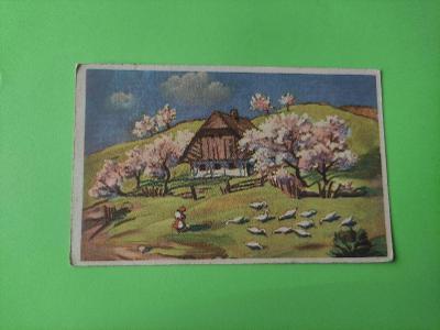 Pohlednice umělecká - krajina, husy, chalupa, stromy - velikonoce ?
