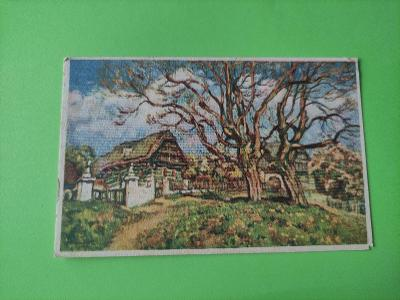 Pohlednice umělecká - O. Bubeníček - Na jaře - ves, krajina, stromy