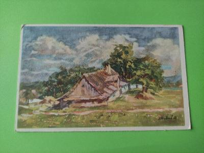 Pohlednice umělecká - J. Hrubeš - ves, krajina, stromy, chalupa, chata