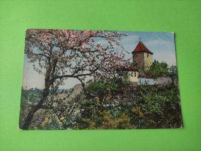 Pohlednice umělecká - hrad, zámek, krajina, strom