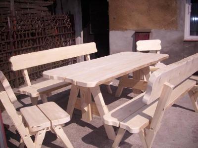 Dřevěná zahradní sedací sestava, zahradní nábytek