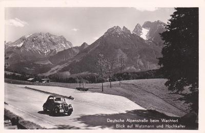 Německo, Berchtesgaden, Bavorsko, Alpy, Watzmann (silnice, auto) 1938