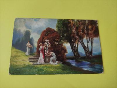 Pohlednice umělecká - A. Broch - krajina, socha, ženy, dívky, potok