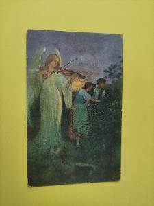 Pohlednice - E. B. Magdič - píseň večerní - milenci, anděl