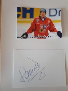 Rachůnek Karel, hokejista, kartička  s originálním autogramem