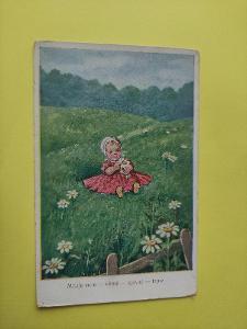 Pohlednice - holčička, louka, kopretina, dítě
