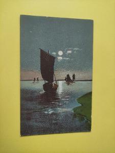 Pohlednice umělecká - moře, loď, lodě, měsíc