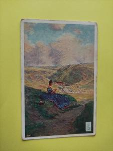 Pohlednice umělecká - žena, dívka, krajina, velikonoční pozdrav