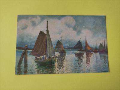 Pohlednice umělecká -moře, lodě, racek, přístav