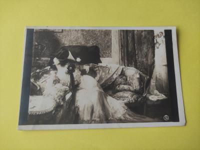 Pohlednice umělecká - salon, pokoj, láska, milenci, muž, žena