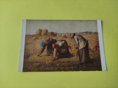 Pohlednice umělecká - J. F. Millet - sběrači, pole, ženy, žně