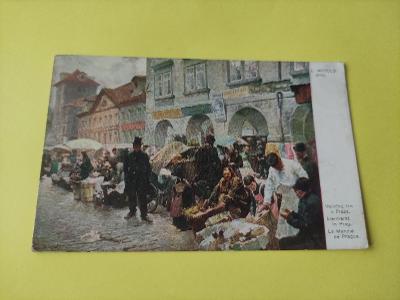 Pohlednice umělecká - L. Márold - Vaječný trh - Praha (Minerva Prague)