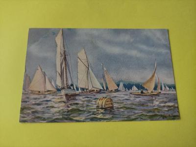 Pohlednice umělecká - Willy Grüner - Berlín - Yacht club, jachty, lodě