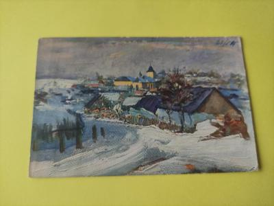 Pohlednice umělecká - F. Hladík - zima, vesnice, kostel, domy