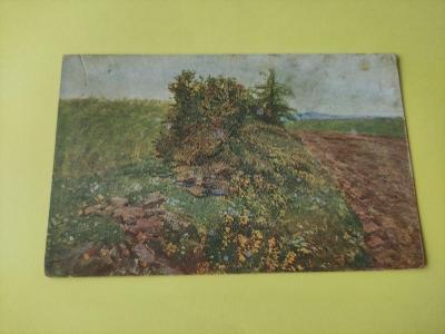Pohlednice umělecká - A. Kalvoda - krajina, louka, pole