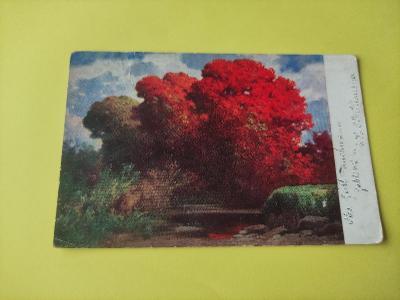 Pohlednice umělecká - krajina, strom, buk evropský