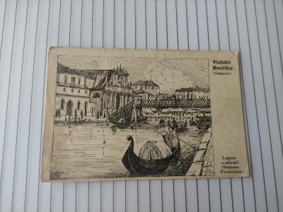 Pohlednice umělecká - Vlašské Benátky, gondola, most