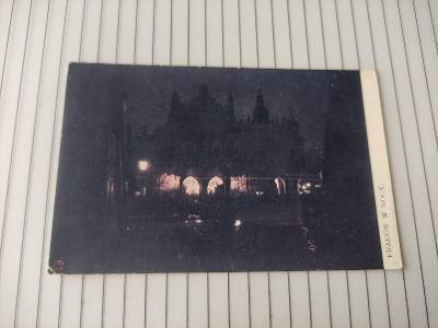 Pohlednice umělecká - Krakow v noci - Polsko
