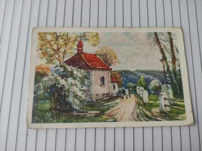 Pohlednice umělecká - Oskar Schmidt - kostel, krajina - vydáno Praha