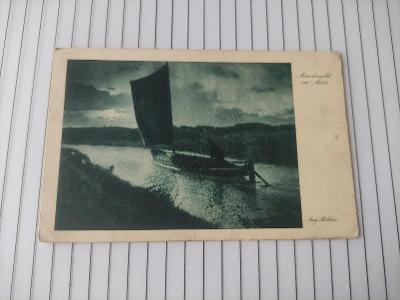 Pohlednice umělecká - A. Böhme - měsíční noc , muž, loď -- známka