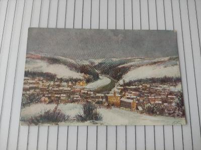 Pohlednice umělecká - Choděra - zima - krajina, město, domy